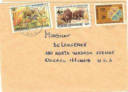 WWF  CENTRAL AFRICA Envelope,  Rhinoceros, Wild Animals  /  CENTRAFRICAINE  Enveloppe, Rhinocéros, Animaux Sauvages 1984 - Rhinozerosse