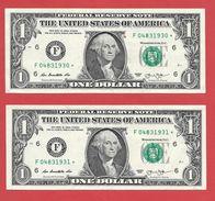 2x STARNOTE - 1 US-Dollar 2013 – F 04831930 Bis 931* Fortlfd. - Guter Zustand - RunSize: 3.200.000 (A024) - Errors