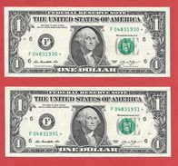 2x STARNOTE ° 1 US-Dollar 2013 ° 3.200.000 RunSize ° Guter Zustand ° F04831930 > 931* Fortlfd. ($024-01) - Errors