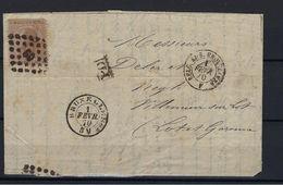 N°19A (ntz) GESTEMPELD Pt60 Bruxelles OP Brief COB € 24,00 + COBA € 2,00 - 1865-1866 Profil Gauche