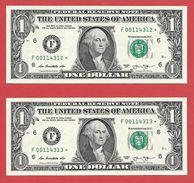 2x STARNOTE - 1 US-Dollar 2013 – F 00114312 Bis 313* Fortlfd. - Sehr Guter Zustand - RunSize: 3.200.000 (A025) Small Num - Errors