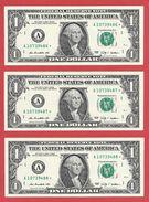 3x STARNOTE - 1 US-Dollar 2009 – A 10739486 Bis 488* Fortlfd. - Sehr Guter Zustand - RunSize: 1.920.000 (A026) RAR - Errors
