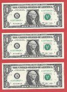 3x STARNOTE - 1 US-Dollar 2009 – A 10739425 Bis 427* Fortlfd. - Sehr Guter Zustand - RunSize: 1.920.000 (A027) RAR - Errors