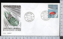 C2909 Busta FDC 1966 CAMPIONATO MONDIALE DI BOB A DUE Lire 40 ROMA (m) - 1946-.. République