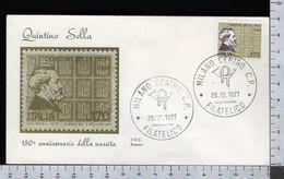 C2924 Busta FDC 1977 QUINTINO SELLA Lire 170 ROSSETTI (m) - 1946-.. République