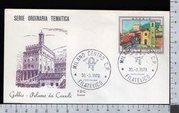 C2929 Busta FDC 1978 TURISMO GUBBIO PALAZZO DEI CONSOLI Lire 70 ROSSETTI (m) - 1946-.. République