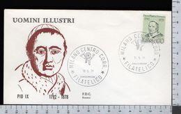 C2938 Busta FDC 1978 UOMINI ILLUSTRI PAPA PIO IX MASTAI FERRETTI Lire 170 ROSSETTI (m) - 6. 1946-.. Repubblica