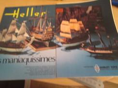 Page De Revue Des Années 60/70 : PUBLICITE MAQUETTES HELLER BATEAUX A VOILE , Format DOUBLE Page A4 - Boats