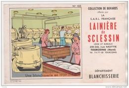 BUVARD UNE BLANCHISSERIE EN 1959 - LAINIERE DE SCLESSIN RUE MOTTE TOURCOING - VOIR LE SCANNER - Textile & Clothing