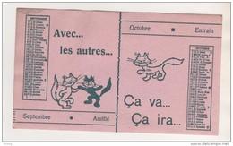 PETIT BUVARD CHATS BLANCS ET NOIR - CALENDRIER SEPTEMBRE ET OCTOBRE - AVEC LES AUTRES, CA VAS, CA IRA................... - Buvards, Protège-cahiers Illustrés