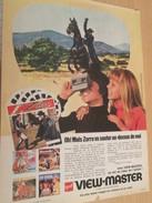Page De Revue Des Années 60/70 / PUBLICITE VIEWMASTER ZORRO Renard Rusé Qui Fait Sa Loi , Format  Page A4 - Autres