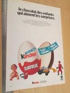 Page De Revue Des Années 60/70 / PUBLICITE KINDER LE CHOCOLAT DES ENFANTS , Format  Page A4 - Diddl & Ü-Eier