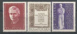 Pologne 1967 1633-35 ** Marie Curie Prix Nobel Physique Chimie - 1944-.... République