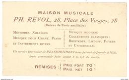 Carte Commerciale Maison Musicale Ph. Revol, Place Des Vosges, Paris ( Solfège, Chant, Piano ... ) - Publicités