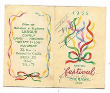 Calendrier De Poche 1955 Parfum Festival De Cheramy , Offert Par M. Lanque Coiffeur à Bresles Oise - Calendars