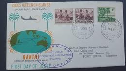 Cocos (Keeling) Islands 1963 Qantas Around The World Flight Cocos To Port Louis, Souvenir Cover - Cocos (Keeling) Islands