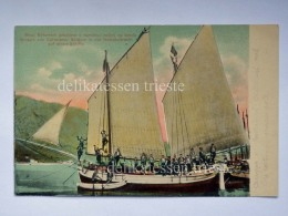 MONTENEGRO DALMAZIA Dalmatia Cattaro Kotor Animata SUPER Boat Ship Abitanti  AK Postcard - Montenegro