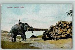 39151160 - Elephant Stacking Timber  Arbeitselefant  British India AK - Éléphants