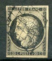 5763  - FRANCE  N° 3 °  20c Noir S. Jaune    Oblitération Grille         1849      TB - 1849-1850 Ceres