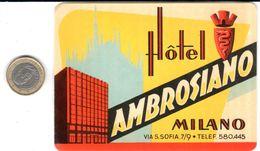 ETIQUETA DE HOTEL  -HOTEL AMBROSIANO  - MILANO - Etiquettes D'hotels