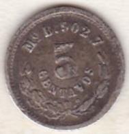 Mexico SECOND REPUBLIC . 5 Centavos 1876 Mo B . Argent . KM# 398.7 - México