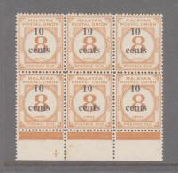 MALAYA -  10 CENTS ON 8C SURCHARGE  POSTAGE DUE  BLOCK OF 6 MINT NEVER HINGED - Malayan Postal Union