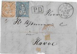 1862-1881 SITZENDE HELVETIA (gezähnt)  → PD-Briefteil Glarus Nach Havre  ►SBK-31/32◄ - 1862-1881 Sitted Helvetia (perforates)