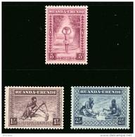 Ruanda 0111/113 SG - Types Indigènes Et Paysages Sans Gomme / Without Gum - Ruanda-Urundi