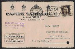 AO40     Cartolina Postale 1941  Ditta  CAMPARI Con Pubblicita Bitter E Cordial Campari - Vini E Alcolici