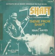 """45 Tours SP - ISAAC HAYES - STAX 2025069  """" THEME FROM SHAFT """" + 1 ( B.O. Du Film """" SHAFT """" ) - Vinyles"""
