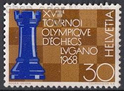Svizzera 1968 Sc. 489 18th Chess Olympics Lugano Torre E Scacchiera Used  Helvetia Switzerland - Scacchi