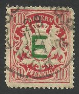 Bavaria, 10 Pf. 1908, Sc # O3, Mi # 3, Used, Augsburg - Bavaria