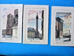 Lot 3 Cpa PARIS - Notre Dame ,place Vendome & De La Concorde Aquarelles Signées F.L SCRIBE - Illustrateurs & Photographes