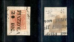 10002 LOMBARDO VENETO - Piazzola 20.12 (Pt.6) - 15 Cent Rosso (3) Su Frammento (140) - Stamps