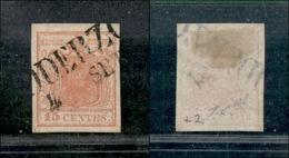 10003 LOMBARDO VENETO - 1850 - 15 Cent Rosso (3) Con N Di CENTES Rotta In Basso A Sinistra - Oderzo 4/9 - Stamps