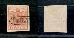 10006 LOMBARDO VENETO - 1850 - 15 Cent Rosso (3a) - Annullo Milano In Cartella - Usato (75) - Stamps