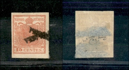 """10008 LOMBARDO VENETO - 1851 - 15 Cent Rosa (5) Con Parte Di Due Annulli Posizionati A Croce """"RACCOMANDATA"""" - Molto Bell - Unclassified"""