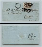 10012 LOMBARDO VENETO - 1850 - 30 Cent Bruno (7) Su Letterina Da Venezia A Verona (160) - Stamps
