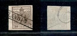 10013 LOMBARDO VENETO - 1850 - 30 Cent Bruno Chiaro (7a) Prima Tiratura - Bordo Foglio Con Parte Di Filigrana - Unclassified