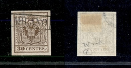 10014 LOMBARDO VENETO - 1850 - 30 Cent Bruno Chiaro (7a) Con Parte Di Filigrana - Usato (75) - Stamps