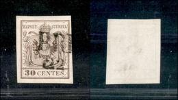 10015 LOMBARDO VENETO - 1850 - 30 Cent Bruno Chiaro (7a) Prima Tiratura (75) - Unclassified