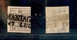 10016 LOMBARDO VENETO - 1850 - 30 Cent Bruno Cioccolato (9b) Usato - Diena (110) - Stamps