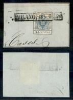 10018 LOMBARDO VENETO - 1850 - Lilliput - 45 Cent Azzurro (10) Ritagliato Lungo Il Disegno - Annullo In Cartella Milano  - Stamps