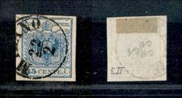 10020 LOMBARDO VENETO - 1850 - 45 Cent Azzurro (12) Con S Di CENTES Rotta - Milano 22/2 - Stamps