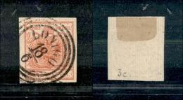 10021 LOMBARDO VENETO - 1851 - 15 Cent Rosso (14) Con Carta A Coste Verticali - Lonigo 18/6 - Stamps