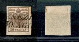 10022 LOMBARDO VENETO - 1851 - 30 Cent Bruno (16) Con Carta A Coste Verticali - Venezia 30/08 (220) - Stamps