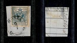 10026 LOMBARDO VENETO - 1854/1857 - 45 Cent Azzurro (22) Carta A Macchina - Monza 3/7 - Stamps