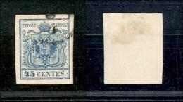 10027 LOMBARDO VENETO - 1856 - 45 Cent Azzurro (22) Carta A Macchina - Usato (100) - Stamps