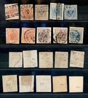 10028 LOMBARDO VENETO - 1850/1857 - Prima Emissione (3/22) - Piccolo Insieme Di Nove Valori - Carta A Mano E Carta A Mac - Unclassified
