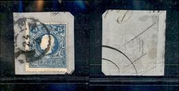 10033 LOMBARDO VENETO - 1859 - 15 Soldi Azzurro II Tipo (32) Su Frammento (190) - Stamps